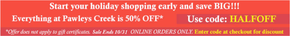 Enter code HALFOFF at checkout to receive 50% OFF your entire order. Sale ends 10/24